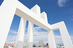 Le Havre - White sculpture (Sabina Lang and Daniel Baumann) resonating with Perret buildings
