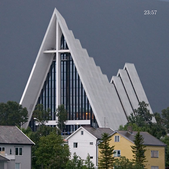 Arctic cathedral with midnight light - Norway - Tromsø - July 2006 - Architecture